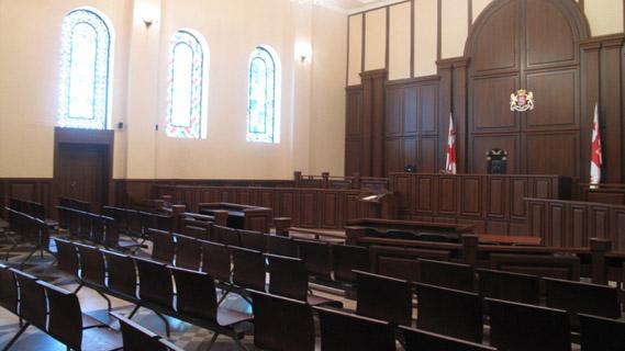 ნაფიც მსაჯულთა სასამართლოსთვის განკუთვნილი დარბაზი