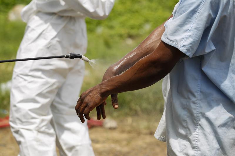 ფოტო გადაღებულია ლიბერიაში როდესაც მედდა ებოლოს ვირუსისგან თავდასაცავად დეზინფექციას იტარებს.  © EPA, 5.10.2014