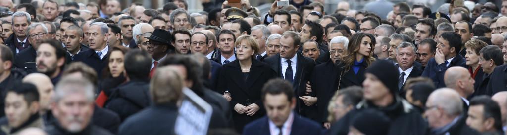 მსოფლიო ლიდერები ერთიანობის მარშზე პარიზში  © EPA  11.01.2015