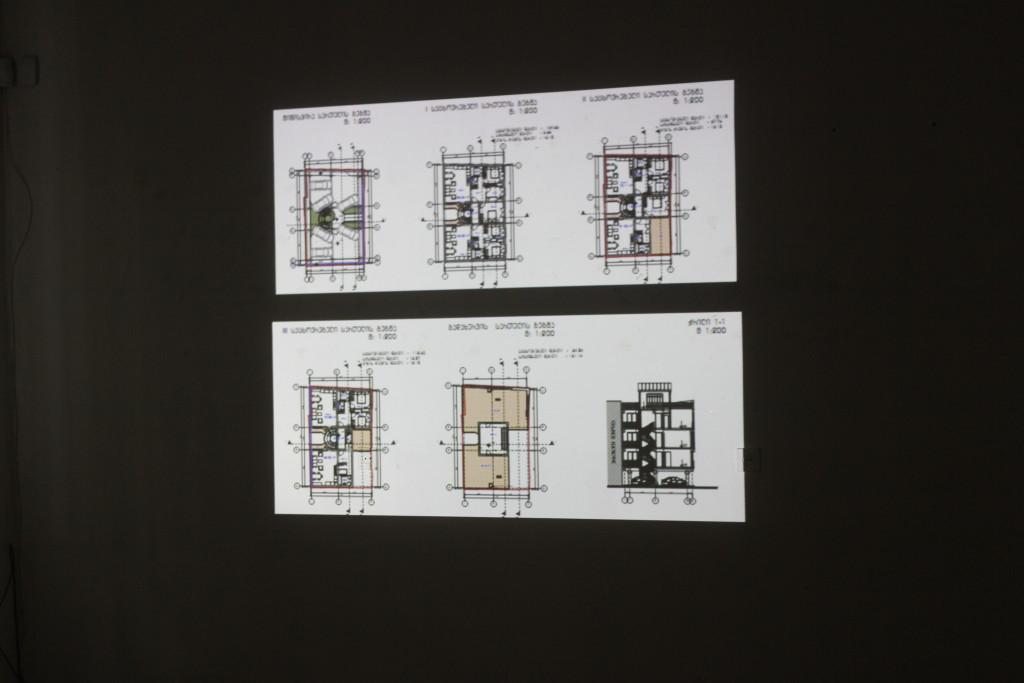 ნახაზის პროექცია არქიტექტურული კონკურსის პროექტების გამოფენაზე
