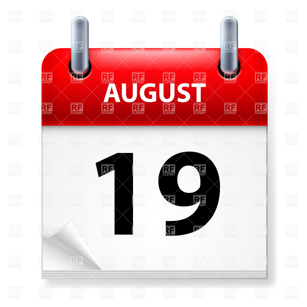 Nineteenth in August Calendar icon on white background