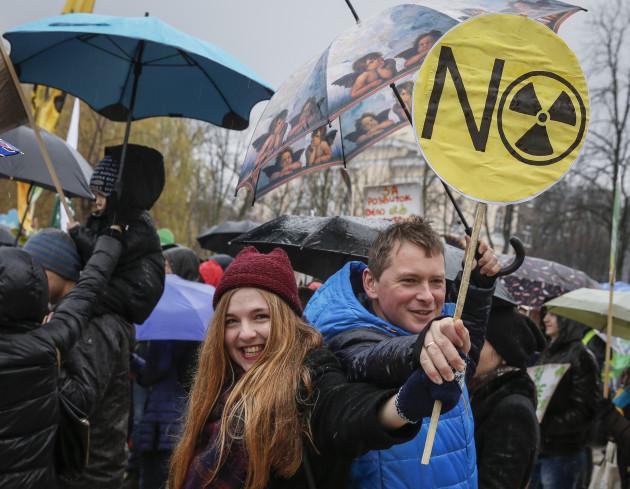 მსოფლიო მარში კლიმატის ცვლილების შესახებ ცნობიერების ასამაღლებლად. კიევი. ფოტო: EPA/ROMAN PILIPEY
