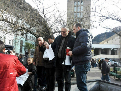 ჭიათურელი მაღაროელების აქცია ჭიათურაში. 21.01.2016 ფოტო: თამაზ დოლაბერიძე