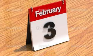 3D calendar standing on desk - February 3 - part of a set