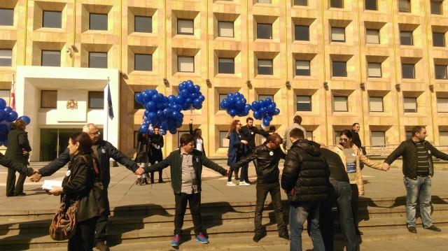 """""""არა გაზპრომს"""" - თბილისში რუსული კომპანიის წინააღმდეგ აქცია იმართება. ფოტო: ნეტგაზეთი/ ანა გვარიშვილი"""