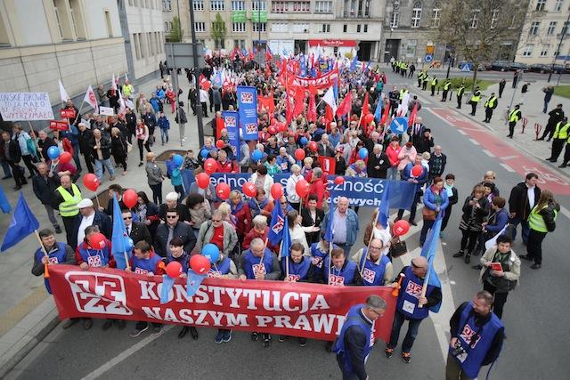 პირველი მაისი მსვლელობით აღნიშნეს პოლონეთშიც. 01.05.16 ფოტო: EPA/LESZEK SZYMANSKI POLAND OUT
