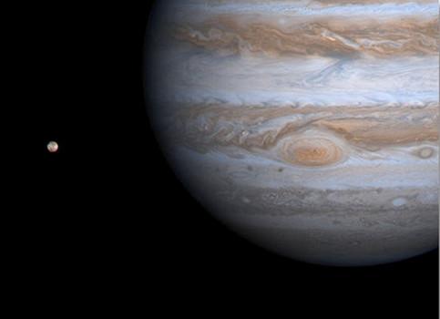 იუპიტერი და მის გარშემო მოძრავი ბუნებრივი თანამგზავრი ფოტო:EPA/NASA