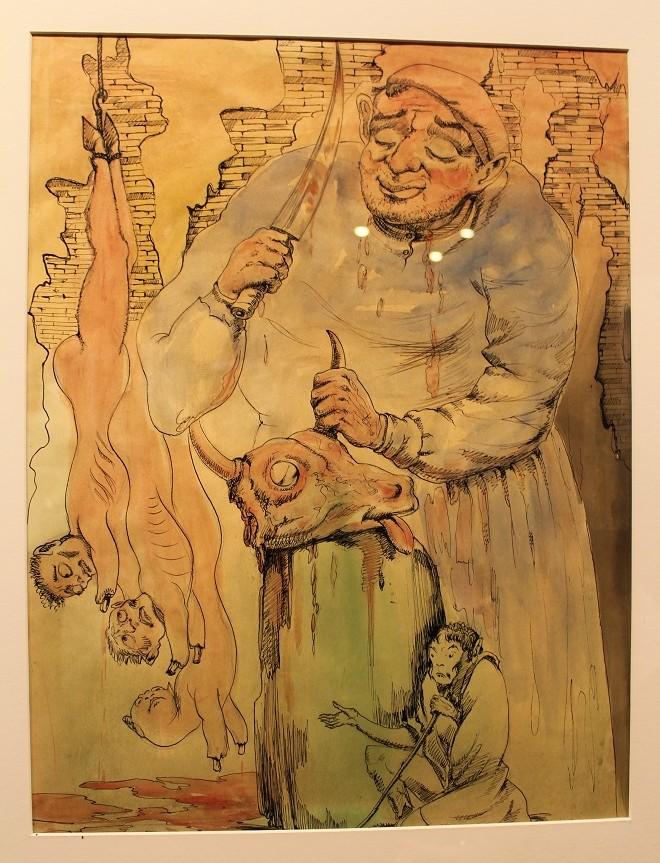 """ლადო გუდიაშვილი ნამუშევარი """"საზიზღარი პროფესია"""" 1955 წ. ფოტო: ნეტგაზეთი/გუკი გიუნაშვილი"""