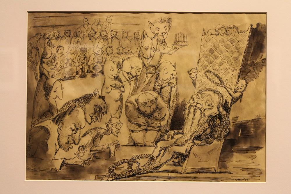 """ლადო გუდიაშვილი ნამუშევარი """"მალთუსის იუბილე"""" 1955 წ. ფოტო: ნეტგაზეთი/გუკი გიუნაშვილი"""