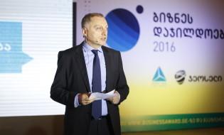 ვახტანგ ბუცხრიკიძე , თიბისი ბანკის გენერალური დირექტორი საუბრობს ბიზნეს დაჯილდოებაზე. 21 ივნისი, 2016 ფოტო: თიბისი ბანკი