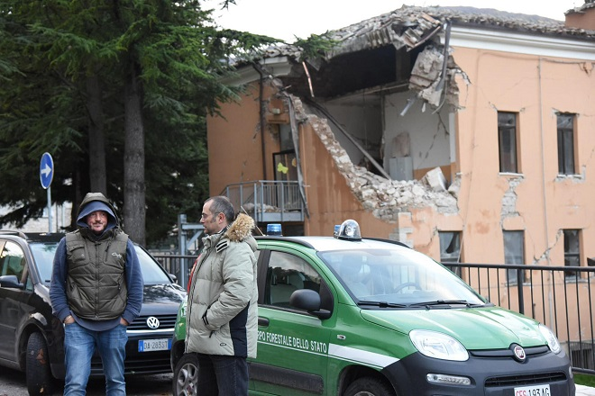 ძლიერი მიწისძვრა ცენტრალურ იტალიაში. ფოტო: EPA/MATTEO CROCCHIONI