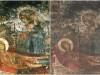 ღვთისმშობლის მიძინების ფრესკა ვარძიის ტაძრის კედელზე ხანძრამდე და ხანძრის შემდეგ. ფოტო: თამარ ამაშუკელი
