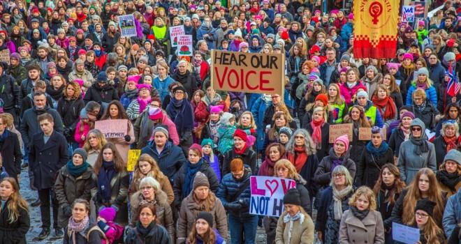 ქალების მსვლელობა ოსლოში, ნორვეგიაში.  21.01.2017. ფოტო: EPA/STIAN LYSBERG SOLUM NORWAY OUT