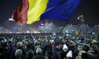 ანტისამთავრობო პროტესტი რუმინეთის ქალაქ ბუქარესტში. 01.02.2017 credit:   EPA/ROBERT GHEMENT