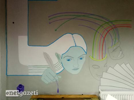 მარიამ გარიყული. ფემინისტური კაბინეტის კედელი, მოხატული ანუკა ბელუგას მიერ. 08.03.2017/ფოტო: მიხეილ მეფარიშვილი