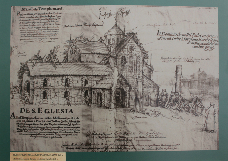 მისიონერი ბერის, ქრისტეფორე დე კასტელის ილუსტრაცია, ტაძარი აფხაზეთში, XVII ს.