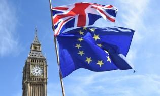 საპროტესტო აქცია ლონდონში დიდი ბრიტანეთის ევროკავშირში დარჩენის მოთხოვნით. ევროკავშირისა და დიდი ბრიტანეთის დროშები გვერდიგვერდ. ფოტო: ©EPA/FACUNDO ARRIZABALAGA 25.03.2017
