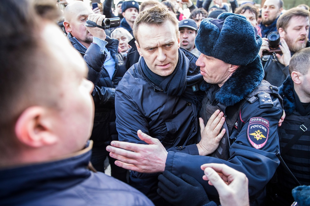 აქციის ორგანიზატორი, რუსი ოპოზიციონერი ალექსეი ნავალნი. 26.03.17 ფოტო: EPA/MAXIM SHIPENKOV