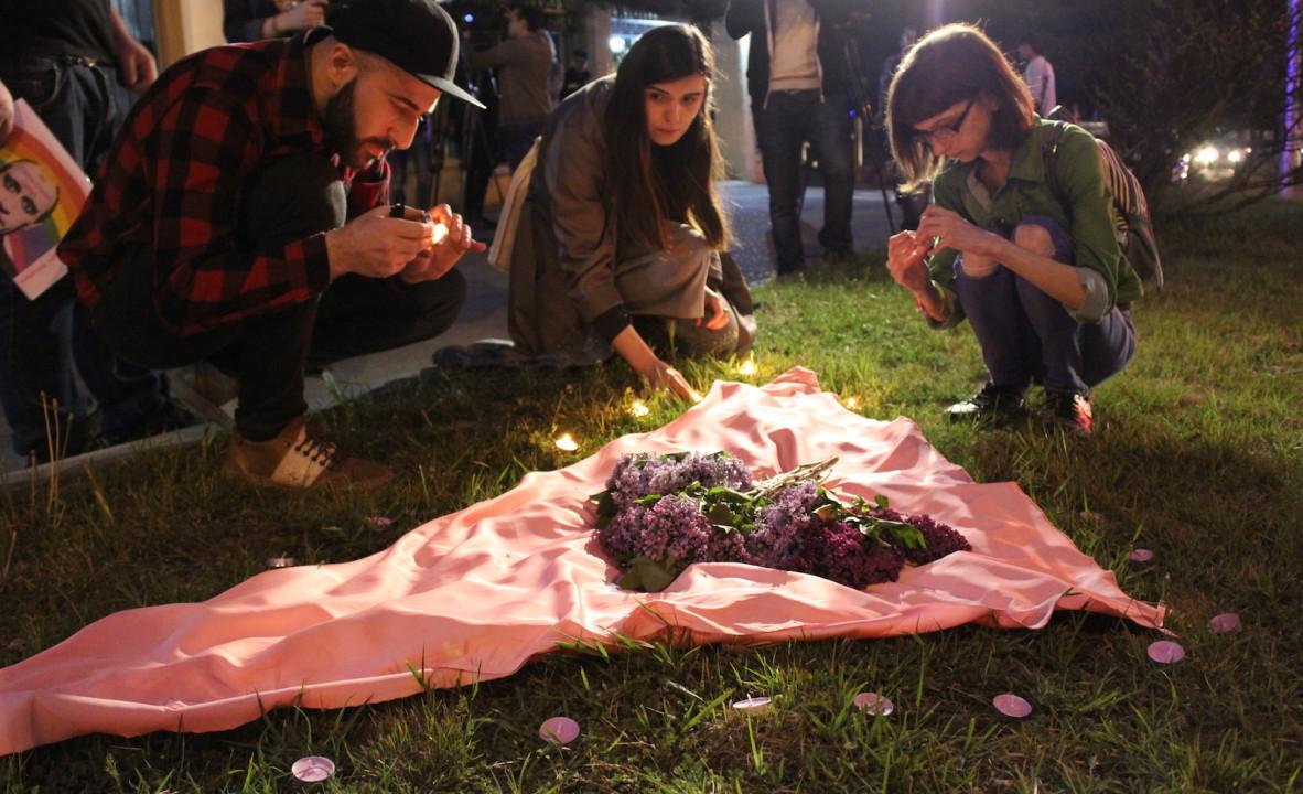აქცია თბილისში ჩეჩნეთში რეპრესირებული ლგბტ თემის მხარდასაჭერად. 18.04.17 © დათო ქოქოშვილი/ნეტგაზეთი