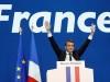 ემანუელ მაკრონი საფრანგეთის საპრეზიდენტო არჩევნების პირველ ტურში გამარჯვებას აღნიშნავს. 23. 04.2017 © EPA/YOAN VALAT