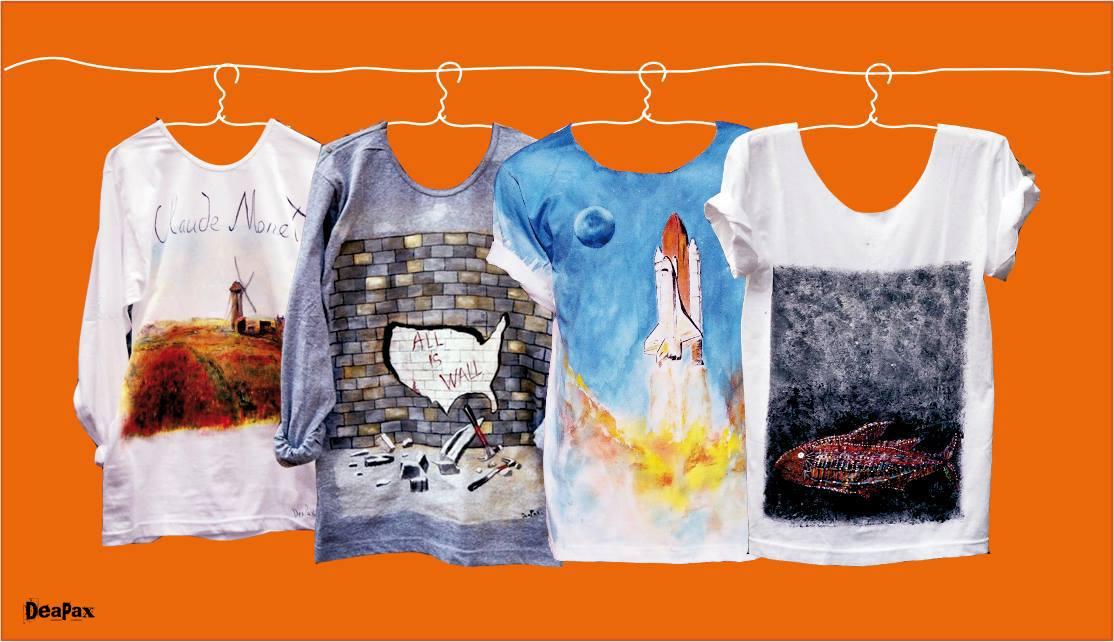 დეაპაქსის ხელნაკეთი მაისურები. ფოტო: სახელოსნოს ფესიბუკ გვერდი
