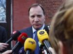 შვედეთის პრემიერ-მინისტრი სტეფან ლუევენი განცხადებას აკეთებს სტოკჰოლმში თავდასხმის შემდეგ. სტოკჰოლმი, 7 აპრილი, 2017 ფოტო: EPA/THOMAS JOHANSSON SWEDEN OUT