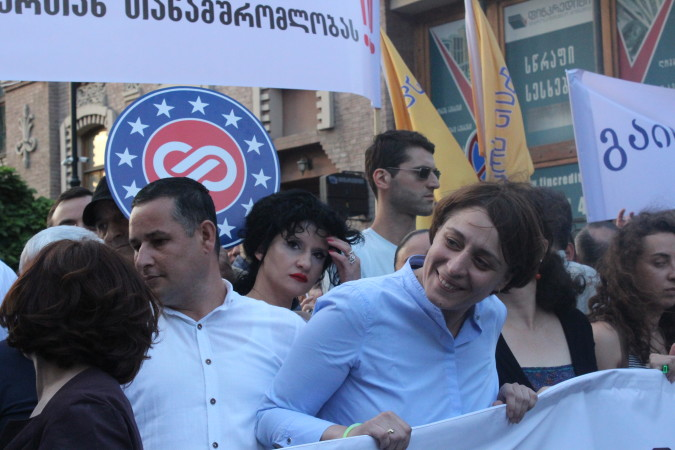 """ელენე ხოშტარია აქციაზე """"არა რუსულ ფაშიზმს საქართველოში ფოტო:ნეტგაზეთი"""