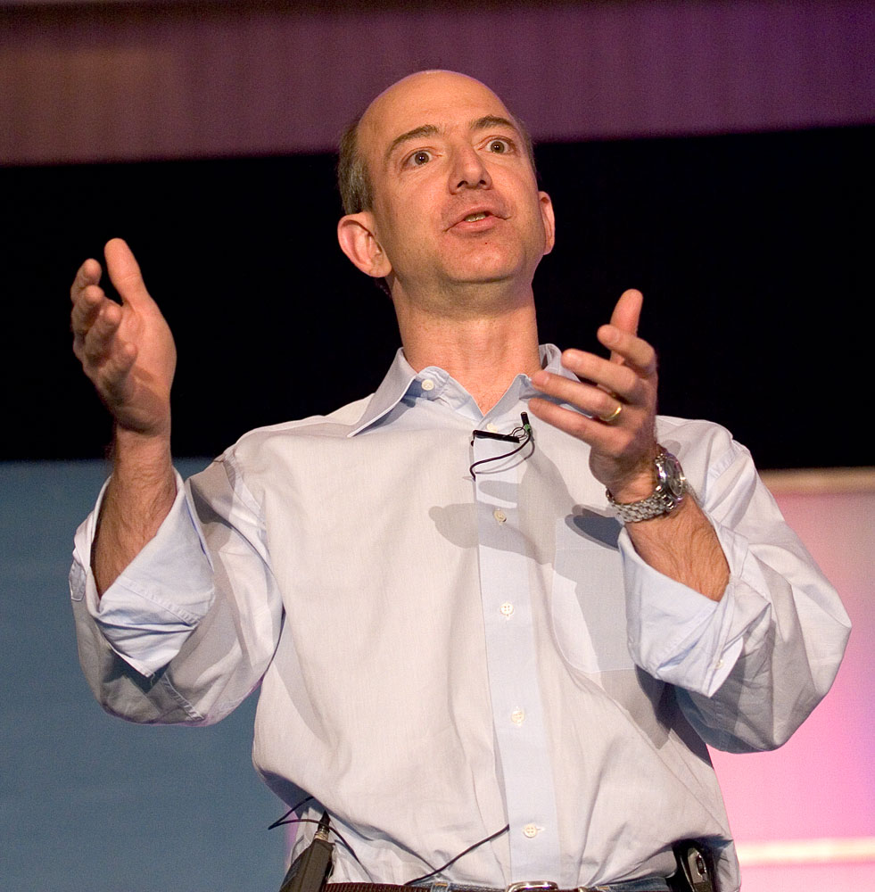Amazon founder Jeff Bezos starts his High Order Bit presentation. by  James Duncan Davidson/cc