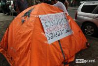 რკინიგზელების შიმშილობის აქცია საქართველოს რკინიგზის შენობასთან 15.08.17 ფოტო: ნეტგაზეთი/გუკი გიუნაშვილი