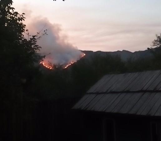 ხანძარი სოფელ დაბის ფერდობზე. ადგილობრივები და დამსვენებლები შიშობენ, რომ ცეცხლი დასახლებულ პუნქტამდე ჩავა.