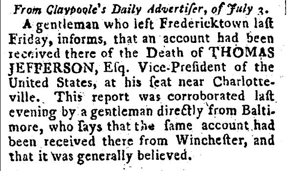გაზეთი Albany Gazette, 1800 წ.