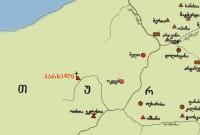პარხალის სამონასტრო კომპლექსის და ძველი ქართული ძეგლების მდებარეობა თურქეთში. რუკა: dzeglebi.ge