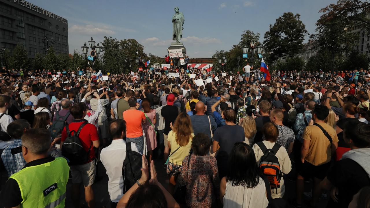 აქცია საპენსიო რეფორმების წინააღმდეგ მოსკოვში. ფოტო: EPA/YURI KOCHETKOV