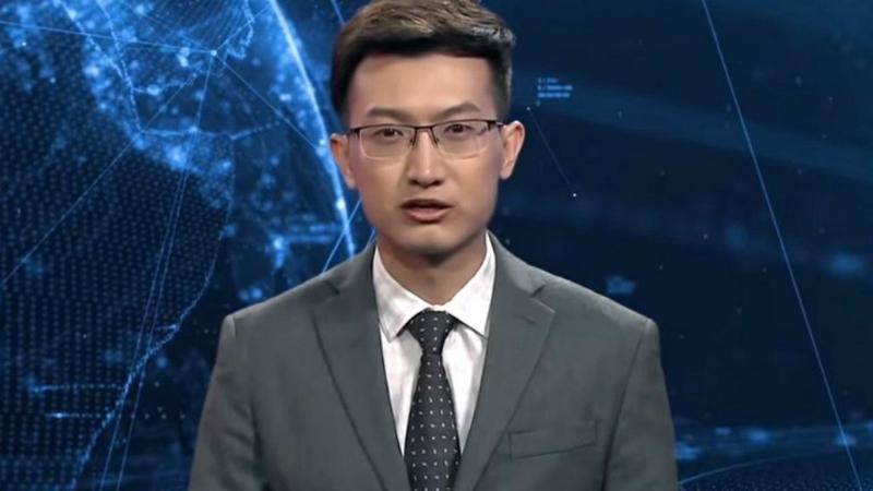 Xinhua-ს რობოტი ტელეწამყვანი. ფოტო: BBC