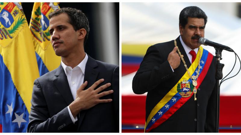 ხუან გუაიდო და ნიკოლას მადურო. ფოტოები: EPA/CRISTIAN HERNANDEZ, MIGUEL GUTIERREZ