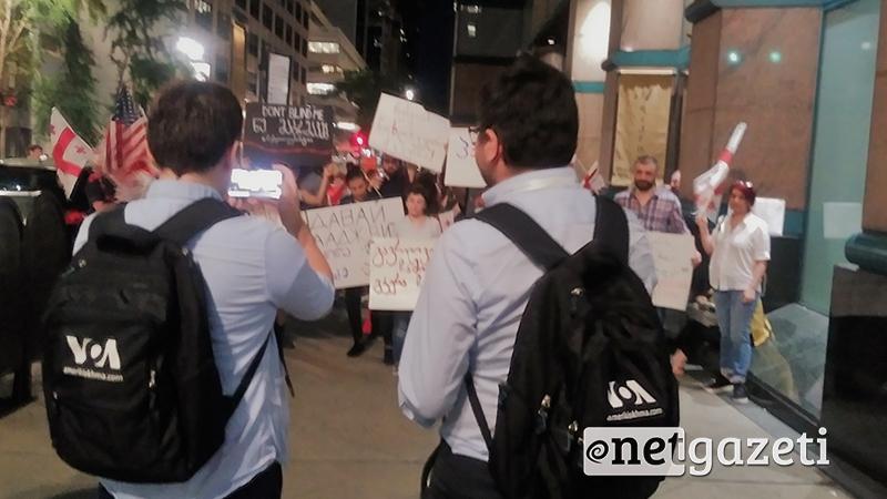 პროტესტი ნიუ-იორკში ოკუპაციის, საქართველოს ხელისუფლებისა და 20 ივნისის დარბევის წინააღმდეგ. ფოტო: ია მერკვილაძე