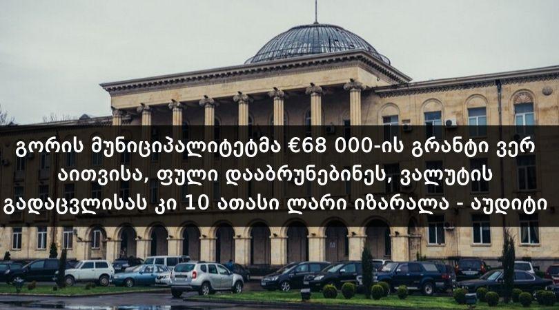 გორმა €68 000 ვერ აითვისა, ფული დააბრუნებინეს და 10 ათასი ლარი იზარალა – აუდიტი