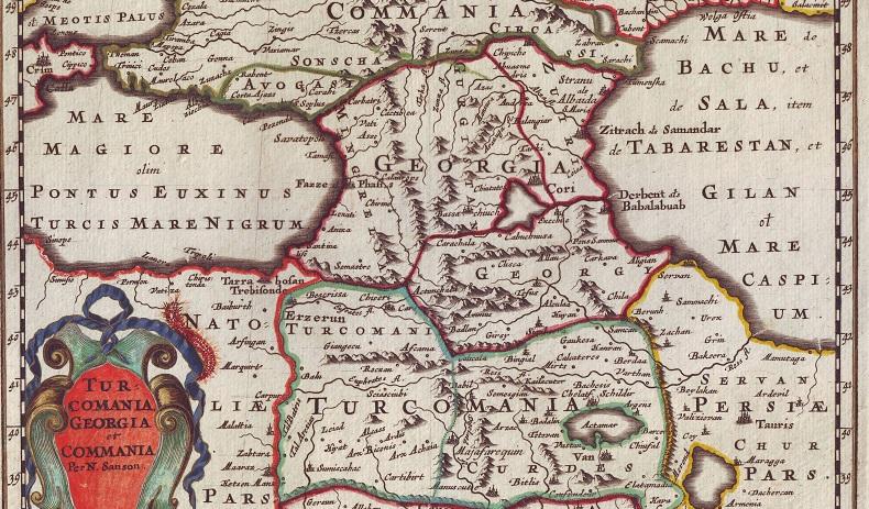 სახელები XVII საუკუნის რუკაზე: Tefus – თბილისი, ბათუმი – Lonati, ქუთაისი – Bassachiuch