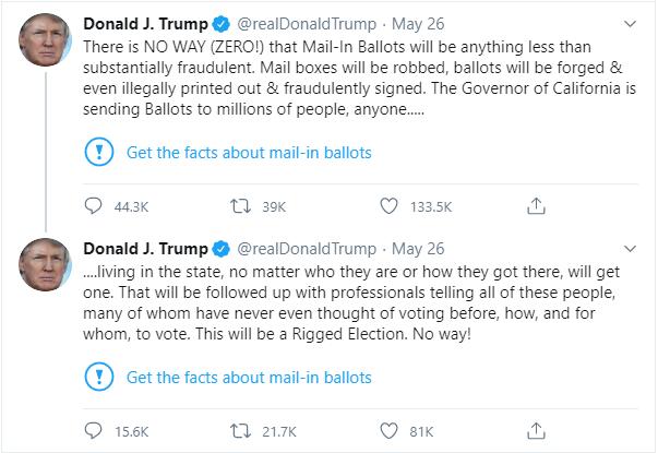 """ტრამპის განცხადებები, რომლებიც """"ტვიტერმა"""" მონიშნა. აშშ-ის პრეზიდენტი ამბობს, რომ ფოსტით ხმისმიცემის შემთხვევაში ადგილი ექნება არჩევნების გაყალბებას."""