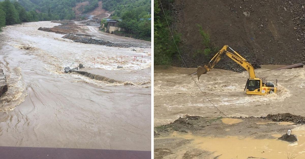 წვიმის შედეგად ხარაგაულში მდინარე ადიდდა