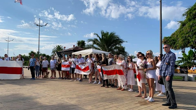 Протесты в Беларуси акция солидарности Грузия Батуми
