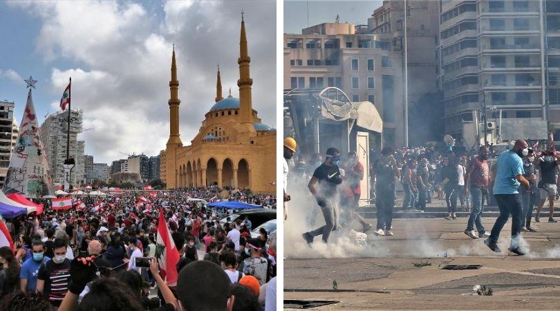 პროტესტი და შეტაკებები – ბეირუთის ცენტრში ათასობით ლიბანელი მოითხოვს აფეთქებაში დამნაშავეთა დასჯას