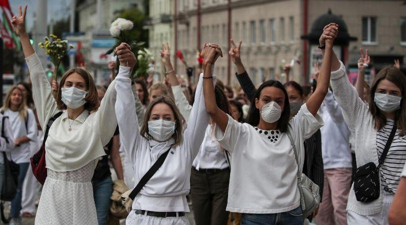 ქალთა პროტესტი მინსკში.11.08.20 ფოტო: EPA