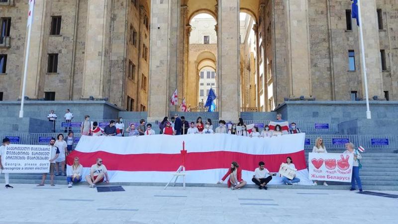 Акция в поддержку белорусских протестов у парламента Грузии