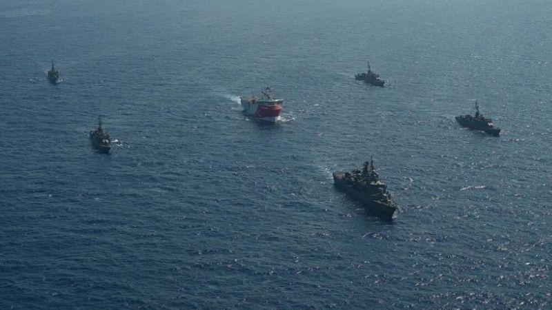 თურქეთის საკვლევი გემი საზღვაო ფლოტთან ერთად. 10.08.20 ფოტო: თურქეთის თავდაცვის სამინიტრო