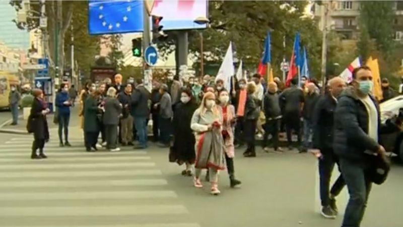 Оппозиция проводит протестное шествие по Тбилиси