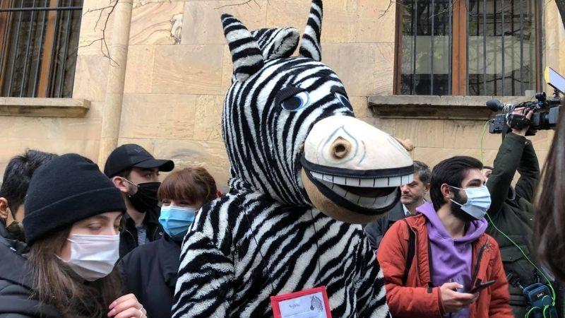 «Депутат-зебра» требует впустить его в парламент
