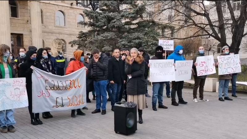 В Тбилиси проходит митинг против строительства Намахванской и Онской ГЭС