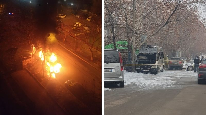 В Тбилиси ночью сгорел припаркованный микроавтобус