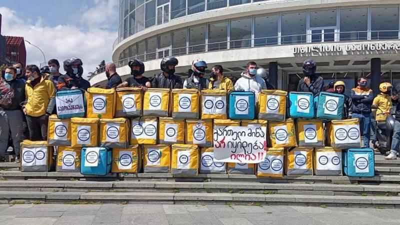 «Нет Намахвани ГЭС» — Курьеры провели акцию солидарности с «Защитниками ущелья Риони»